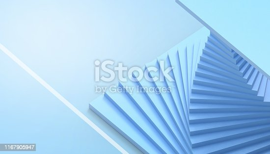 istock Abstract geometric dynamic Spiral minimal style Spiral Modern Art and blue paste  background  - 3d rendering 1167905947