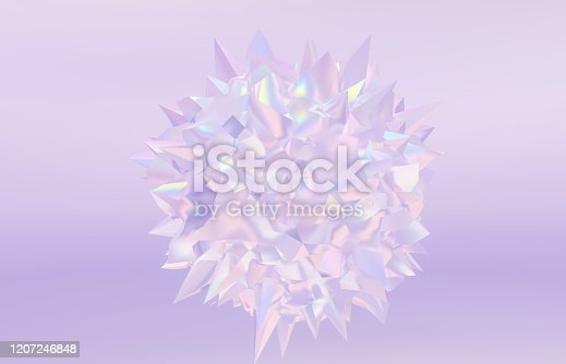 647090632 istock photo Abstract geometric form crystal background, iridescent texture, faceted gem. 1207246848