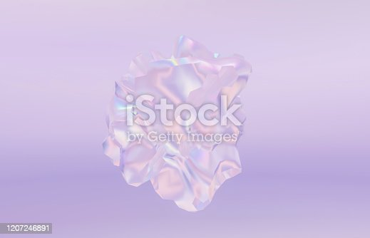 647090632 istock photo Abstract geometric form crystal background, iridescent texture, faceted gem. 1207246891