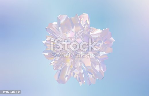 647090632 istock photo Abstract geometric form crystal background, iridescent texture, faceted gem. 1207246908