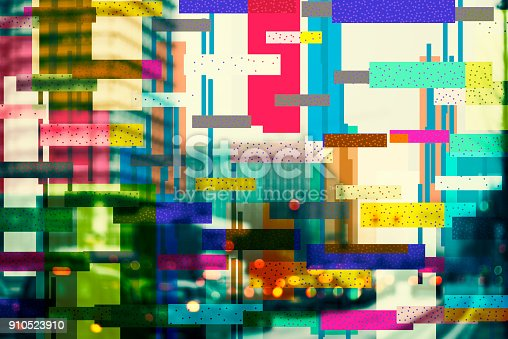 Defocused urban background with abstract geometric pattern overlay
