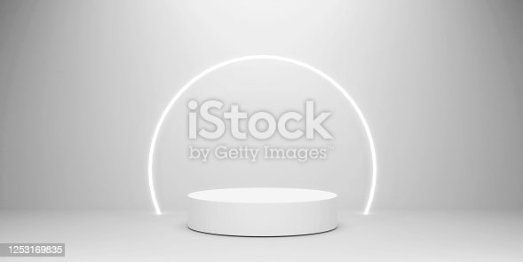 istock Abstract geometric shape, Cylinder and Torus, Design For Cosmetic Or Product Display Podium 3d Render. 1253169835