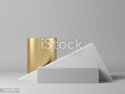 Abstract geometric shape on grey 3 d rendering
