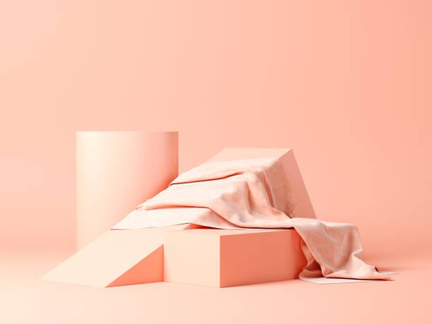 abstrakte geometrische form auf grau 3d-rendering - sockelleisten ecken stock-fotos und bilder