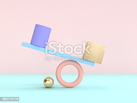 950775710 istock photo abstract geometric shape pastel colorful 3d rendering gravity concept 950775718