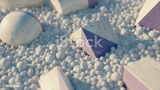 950775710 istock photo Abstract geometric shape scene. 3d rendering 1183068264