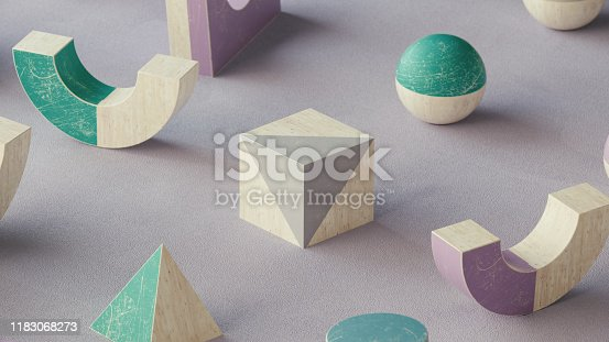950775710 istock photo Abstract geometric shape scene. 3d rendering 1183068273