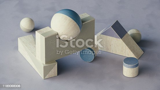 950775710 istock photo Abstract geometric shape scene. 3d rendering 1183068306