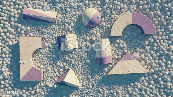 950775710 istock photo Abstract geometric shape scene. 3d rendering 1183068314