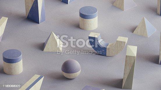 950775710 istock photo Abstract geometric shape scene. 3d rendering 1183068322