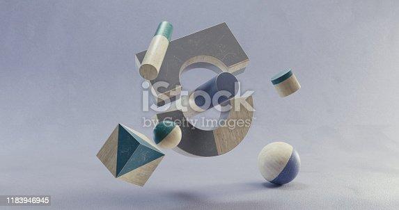 950775710 istock photo Abstract geometric shape scene. 3d rendering 1183946945
