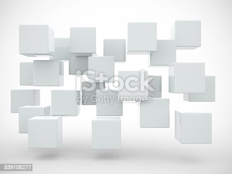 istock Abstract geometric shapes from cubes - 3d render 539105277