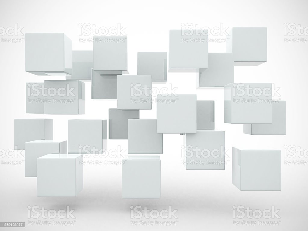 Abstract geometric shapes from cubes - 3d render stock photo