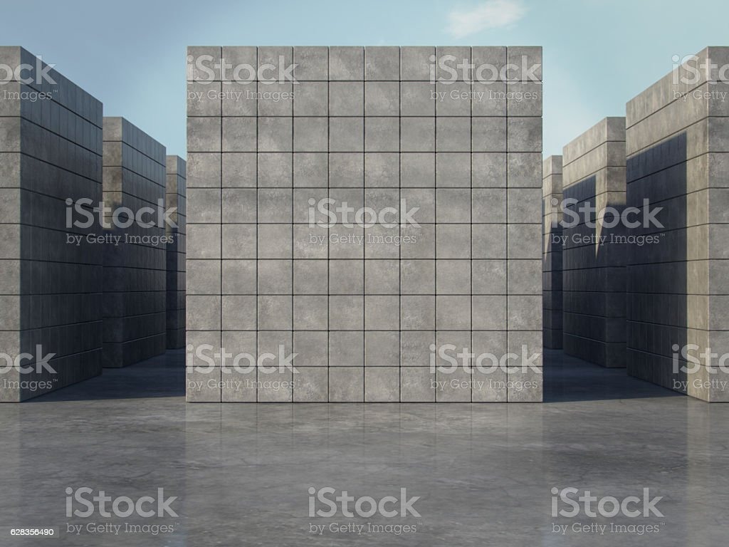 Abstract geometric space background of the concrete.3D rendering stock photo