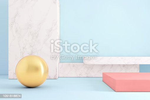 Copy space background template with vivid pastel colors. Blank background wall, metal ball and podium like setup. Abstract interior architecture design.