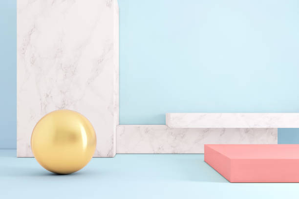 Abstract geometric stage like setup, with vivid colors. Copy space background Copy space background template with vivid pastel colors. Blank background wall, metal ball and podium like setup. Abstract interior architecture design. still life stock pictures, royalty-free photos & images