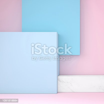 Copy space background template with vivid pastel colors. Blank background wall and podium stage like setup. Abstract interior architecture design.