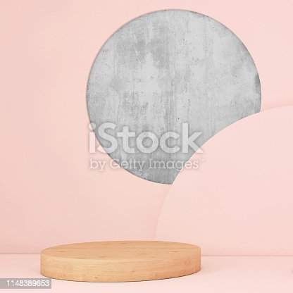 istock Abstract geometric stage like setup, with vivid colors. Copy space background 1148389653