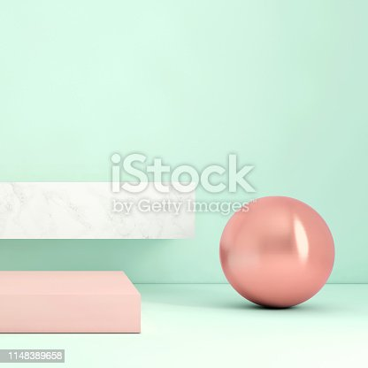 1148389653 istock photo Abstract geometric stage like setup, with vivid colors. Copy space background 1148389658