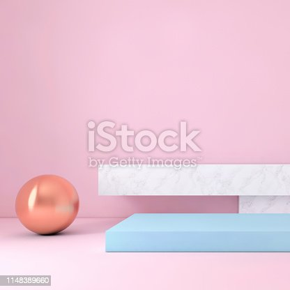 1148389653 istock photo Abstract geometric stage like setup, with vivid colors. Copy space background 1148389660