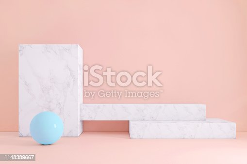 1148389653 istock photo Abstract geometric stage like setup, with vivid colors. Copy space background 1148389667