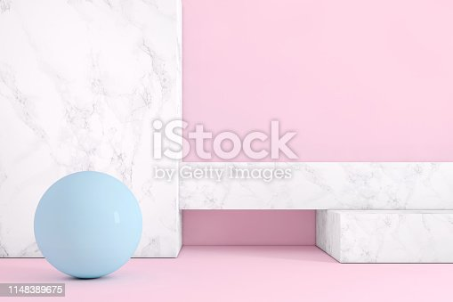 1148389653 istock photo Abstract geometric stage like setup, with vivid colors. Copy space background 1148389675