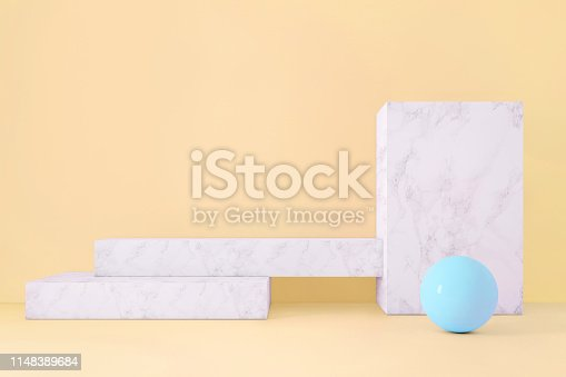 1148389653istockphoto Abstract geometric stage like setup, with vivid colors. Copy space background 1148389684