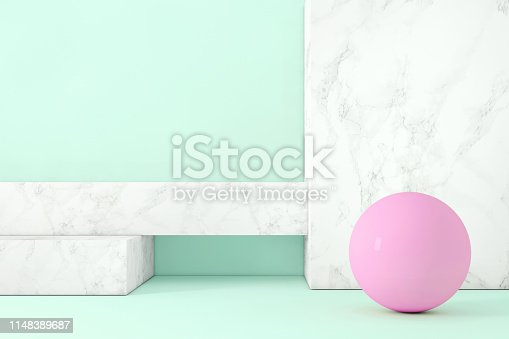 1148389653 istock photo Abstract geometric stage like setup, with vivid colors. Copy space background 1148389687
