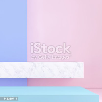 1148389653 istock photo Abstract geometric stage like setup, with vivid colors. Copy space background 1148389711