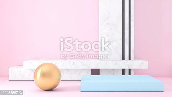 1148389653 istock photo Abstract geometric stage like setup, with vivid colors. Copy space background 1148389713