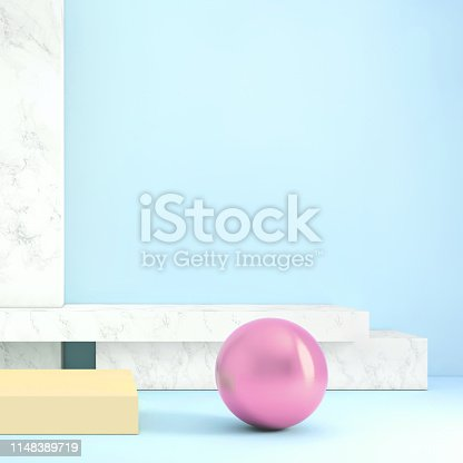 1148389653 istock photo Abstract geometric stage like setup, with vivid colors. Copy space background 1148389719