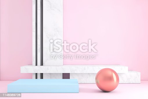 1148389653 istock photo Abstract geometric stage like setup, with vivid colors. Copy space background 1148389728