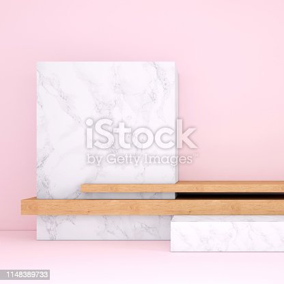 1148389653 istock photo Abstract geometric stage like setup, with vivid colors. Copy space background 1148389733