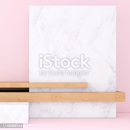 1148389653 istock photo Abstract geometric stage like setup, with vivid colors. Copy space background 1148389744