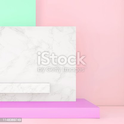 1148389653 istock photo Abstract geometric stage like setup, with vivid colors. Copy space background 1148389749