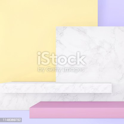 1148389653 istock photo Abstract geometric stage like setup, with vivid colors. Copy space background 1148389752