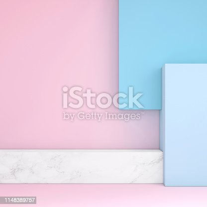 1148389653 istock photo Abstract geometric stage like setup, with vivid colors. Copy space background 1148389757
