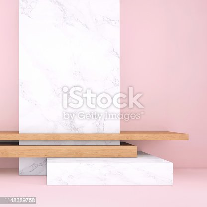 1148389653 istock photo Abstract geometric stage like setup, with vivid colors. Copy space background 1148389758