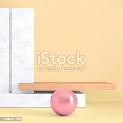 1148389653 istock photo Abstract geometric stage like setup, with vivid colors. Copy space background 1148389759