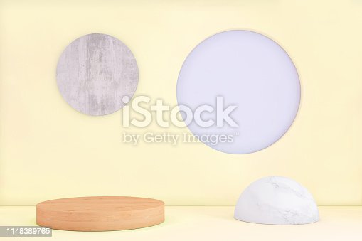 1136239089istockphoto Abstract geometric stage like setup, with vivid colors. Copy space background 1148389765