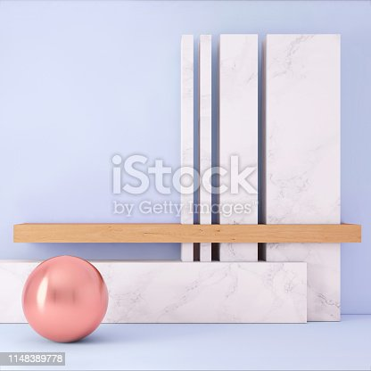 1148389653 istock photo Abstract geometric stage like setup, with vivid colors. Copy space background 1148389778