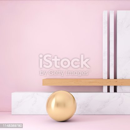 1148389653 istock photo Abstract geometric stage like setup, with vivid colors. Copy space background 1148389780