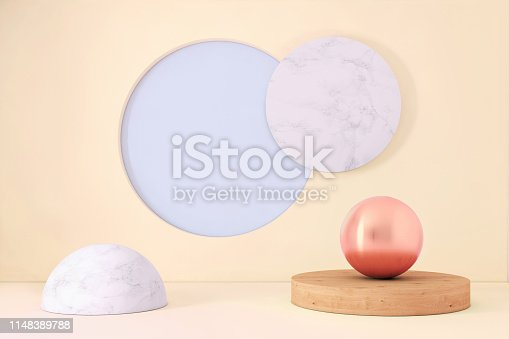 1136239089istockphoto Abstract geometric stage like setup, with vivid colors. Copy space background 1148389788