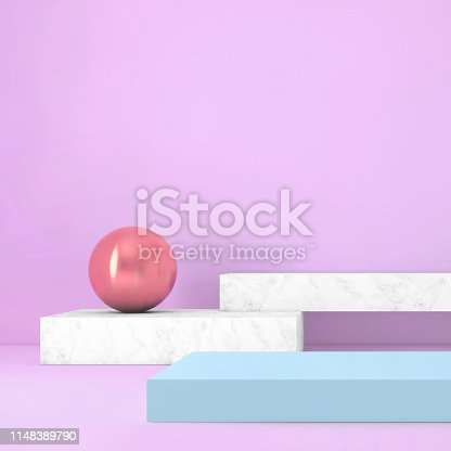 1148389653 istock photo Abstract geometric stage like setup, with vivid colors. Copy space background 1148389790