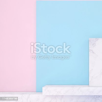 1148389653 istock photo Abstract geometric stage like setup, with vivid colors. Copy space background 1148389799