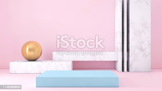 1148389653 istock photo Abstract geometric stage like setup, with vivid colors. Copy space background 1148389800
