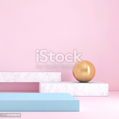 1148389653 istock photo Abstract geometric stage like setup, with vivid colors. Copy space background 1148389808