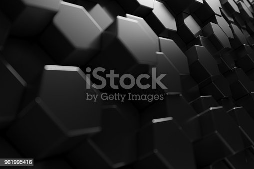 1003112136 istock photo Abstract geometric surface. Hexagonal black background. 3D Rendering 961995416