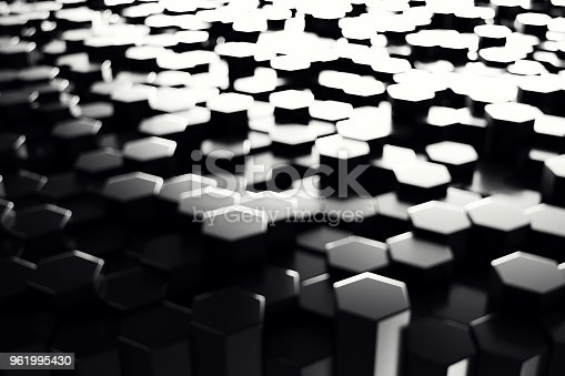 1003112136 istock photo Abstract geometric surface. Hexagonal black background. 3D Rendering 961995430