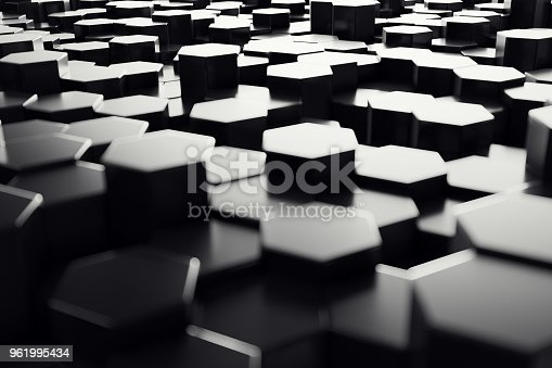 1003112136 istock photo Abstract geometric surface. Hexagonal black background. 3D Rendering 961995434